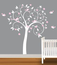 Children Wall Decal White Pink Girls Nursery Vinyl Wall Stickers Flowers Owls Curl Tree