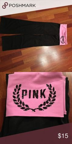 VS Pink yoga pants Pink yoga pants. Worn but still in good shape. Size small but stretchy! PINK Victoria's Secret Pants Leggings