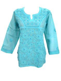 Designer Tunic Dress Blue Embroidered Cotton Boho Kurta Blouse Top M