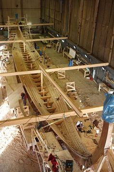 """The Norvegian Viking ship reconstruction, """"Dragon Harald Fairhair"""", is the biggest modern time Viking ship in existence. She is  35 m long for a beam of 7,50 m. Being a """"25-sesse"""", she is equipped with 50 oars."""