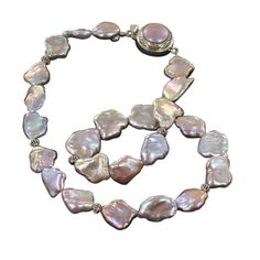 "BEAUTIFUL PINK PEACH KEISHI PEARL NECKLACE STERLING 17"" from New World Gems"