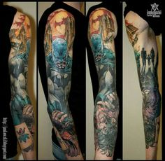 Really lovely work. Batman sleeve based off Jim Lee's artwork in Batman: Hush. Not sure who the very talented tattoo artist is.