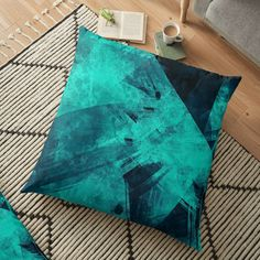 'Blue Please' Floor Pillow by Beer-Bones Blue Pillows, Floor Pillows, Pillow Design, Bones, Cushions, Flooring, Printed, Awesome, Products