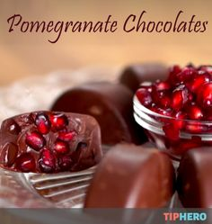 Pomegranate Chocolates Recipe | Wow guests with this festive and delicious treat. All you'll need are chocolate chips, a pomegranate, vegetable and an ice cube tray and voila - homemade chocolates! #desserts