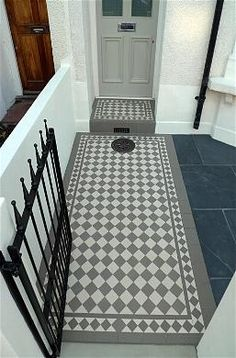 grey and white victorian mosaic tile path rail gate wall bespoke bike bin store slate paving charcoal dark dulwich peckham london Victorian Front Garden, Victorian Front Doors, Victorian Terrace, Victorian Homes, Front Door Steps, House Front Door, Front Path, Front Garden Path, Path Design