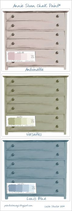 COLORWAYS color choices for chest of drawers. Annie Sloan Chalk Paint®, Antoinette, Versailles, Louis Blue