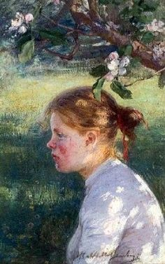 Elin Kleopatra Danielson-Gambogi (Finnish painter, 1861-1919) Under the Apple Tree