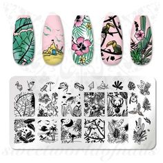 Products Summer Nails Beach Vacation Nail Art Stamping Plate Bracelets A bracelet is an article of c Vacation Nail Art, Nail Art Stamping Plates, Nail Plate, Solid Color Nails, Nail Art Images, Stainless Steel Nails, Image Stamp, Geometry Pattern, Nail Patterns