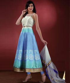Buy Blue Art Silk Readymade Anarkali Suit 72763 online at lowest price from huge collection of salwar kameez at Indianclothstore.com.