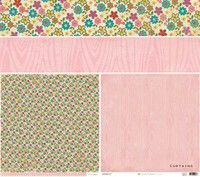 Curtains 12X12 Random Collection Paper By Crate Paper          *Please Note: Image of 12 x12 paper seen here is showing the front and back of the paper on the bottom 2 squares, and 2 long horizontal strips at the top with a closeup of the patterns used.      Part of the Random collection.