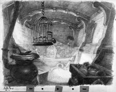 Atmospheric studies and layout sketches from Disney's film Pinocchio