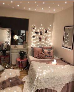 Cozy-Bedroom-Lighting/ teen room decor, diy bedroom decor, bedroom in Cute Bedroom Ideas, Cute Room Decor, Room Ideas Bedroom, Cozy Bedroom, Master Bedroom, Bedroom Designs, Bedroom Romantic, Bedroom Small, Bedroom Inspo