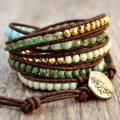 leather strap beaded bracelet