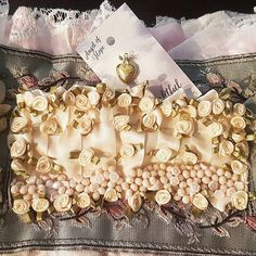 Vintage Style Fabric Books and other handmade items by vintagesoulshinehope Fabric Ribbon, Beaded Lace, French Vintage, Embellishments, Etsy Seller, Handmade Items, Fabric Books, Vintage Fashion, Pearls