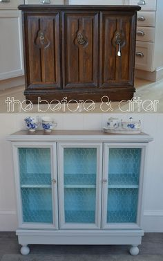 Transformed a thrift store find into a cute cabinet with open fronts. Kind cute and contry sideboard now with the chicken wire doors.