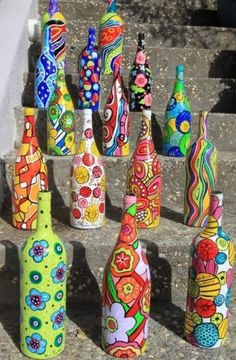 Wine bottles painted. I love this