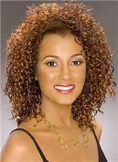 Marvelous Medium Curly Brown Lace Front African American Wigs for Women