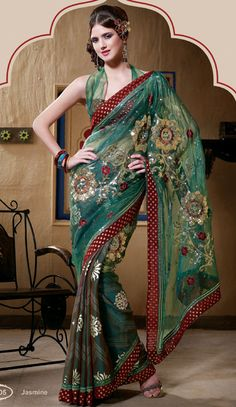 Green Color Tissue Saree
