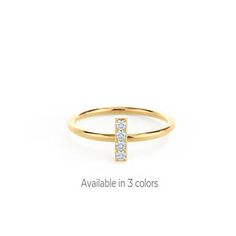 The Bar Ring from The Delicate Collection by Ada Diamonds. Available in 14k White, Yellow or Rose Gold