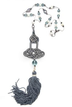 Chandelier Necklace - Light blue and gardenia white For order enquiry - mipluxury.kellyli@gmail.com