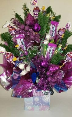 Items similar to Floral All Around Candy Bouquet Centerpiece! A Delicious Variety of Candy made into Elegant Flowers & Arranged in a short Vase! on Etsy Candy Bar Bouquet, Bouquet Box, Honor Bee, Purple Candy, Candy Art, Easter Stuff, Candy Gifts, Recycled Crafts, Senior Year