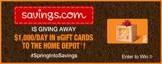 Savings.com and Home Depot Giveaway: Win 1 of 50 Gift Cards a Day | Ends 4.23.14 #SpringIntoSavings