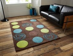 Bright Blue Green Chocolate Brown Mat Small Hand Tufted Retro Circle Pattern Rug