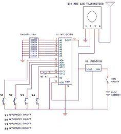 wireless rf remote control circuit diagram schematics, circuitsremote or transmitter circuit