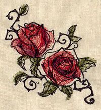 Painted Roses | Urban Threads: Unique and Awesome Embroidery Designs