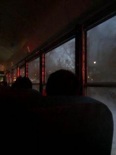 Foggy, dark, morning bus ride to school Night Bus, Night School, Night Aesthetic, Travel Aesthetic, Slytherin Aesthetic, Foggy Morning, Bus Ride, Bus Travel, Dark Photography