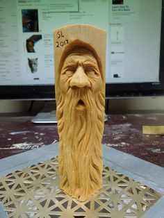Possible wood carving. Wood Carving Faces, Dremel Wood Carving, Wood Carving Designs, Tree Carving, Wood Carving Patterns, Wood Carving Art, Pumpkin Carving, Wood Art, Black Cherry Wood