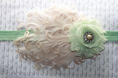 Mint and Cream Feather Flower Headband, Newborn Headband, Baby Girl Headband, Baby Girl Flower Headband, Photography Prop. $15.95, via Etsy.