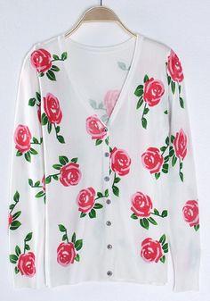 Pink rose button cardigan