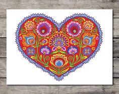 "Wycinanki Giclee ""Hopeful Heart"" Polish Floral Botanical Folk Art Print Papercut Style Flower Gift 8 x 10 or 11 x 14 Housewarming - New Ideas Folk Art Flowers, Flower Art, Polish Folk Art, Heart Art, Paper Cutting, Note Cards, How To Draw Hands, Greeting Cards, Valentines"