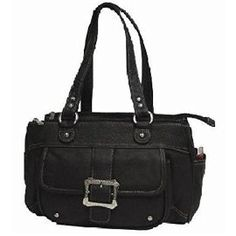 Roma Leathers 7092 Dual Handled Black Genuine Leather Concealed Purse