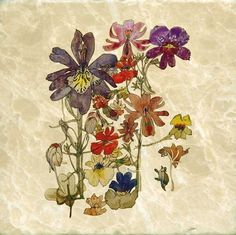 Butterfly flowers, Charles Rennie Mackintosh, 6 inch tumbled marble