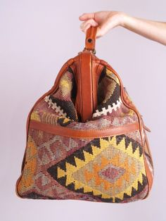 Vtg 70s SOUTHWEST NAVAJO Kilim Leather Weekender BAG | eBay