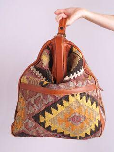 Vtg 70s SOUTHWEST NAVAJO Kilim Leather Weekender BAG   eBay