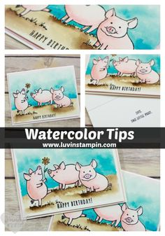 Watercoloring Tips for This Little Piggy Stamp Set fr. Stampin' UP! This Little Piggy, Little Pigs, Watercolor Cards, Watercolor Tips, Watercolor Painting, Barn Wood Crafts, Karten Diy, Hand Made Greeting Cards, Stampin Up Catalog
