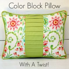 How to make this stunning reversible color block pillow with knife pleat panel and cording.  Videos help you every step of the way.