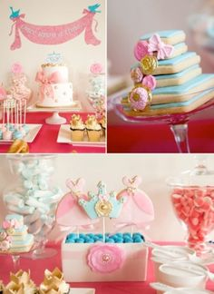 Cinderella themed birthday party with SO many cute ideas! Via Kara's Party Ideas Pink and blue