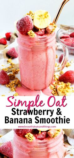 Best No Cost Simple Strawberry Banana Oat Smoothie - Beautiful Eats & Things Style Blood and Strawberry Strawberry Smoothie Recipes Many popular smoothie recipes have a very importan Chocolate Strawberry Smoothie, Blueberry Banana Smoothie, Kiwi Smoothie, Banana Oats, Fruit Smoothies, Smoothie Recipes, Smoothie Packs, Vitamix Recipes, Blender Recipes