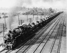 Wartime oil train on the B&O A B&O Mikado rolls east through Halethorpe, Md., with a solid train of oil from the Southwest. When German U-boats menaced coastal shipping during World War II, millions of barrels of oil shifted to the railroads for shipment to the Eastern Seaboard. B&O
