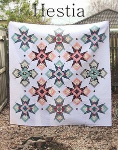 Hestia is a gorgeous quilt pattern which features easy to construct 15 blocks using a combination of traditional piecing and foundation paper piecing. Hestia is designed to be a scrappy quilt and works well with a combination of fat quarters and fat eights. The on point design