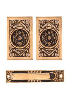 Oriental Passage Pocket Door Set #1340 By Charleston Hardware Company.