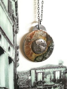 Travel Pendant - Upcycled Necklace @ Absolutejewelry.com #travel #America #adventure #ethicaljewelry