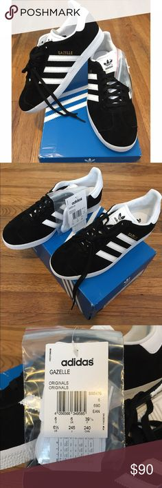 Adidas Gazelle Sneakers Brand new with tags black and white suede Adidas Gazelle sneakers  Classic street style. Men's size 6.5 Comes with the box  #streetstlye #adidas #wardrobestaple #monochrome Adidas Shoes Sneakers