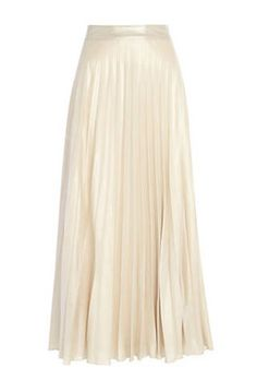 River Island Pale Gold Pleated Maxi Skirt - $80