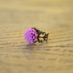 Orchid Chrysanthemum Ring with Adjustable Filigree Band