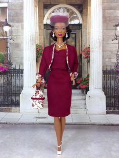 Barbie Doll Skirt Suit - Three Piece Skirt Suit with Hat, Purse, Earrings, Necklace, and Shoes by EnchantedStyles on Etsy
